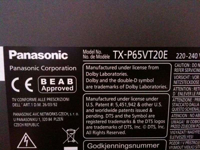 panasonic rear label