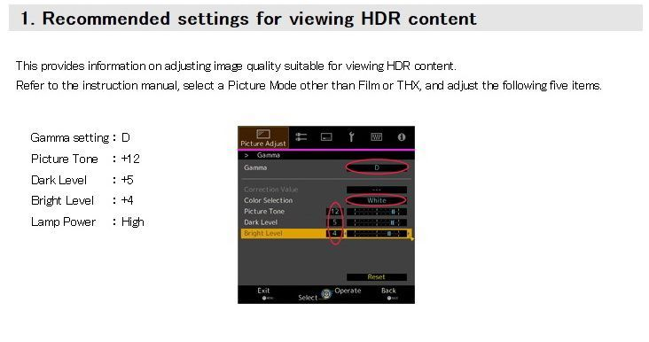 1. Recommended settings for viewing HDR content