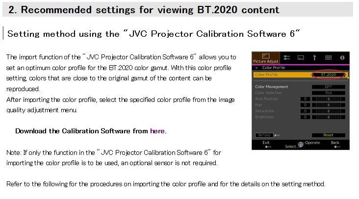 2. Recommended settings for viewing BT.2020 content